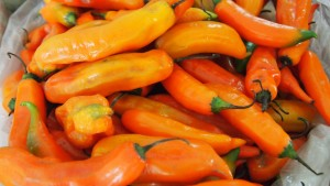 Fresh aji amarillo at a market in Peru.