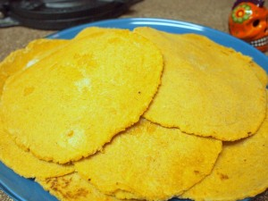 Fresh homemade corn tortillas