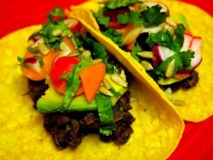 Borracho Epazote Black Beans Tacos with Quick Radish Pickles