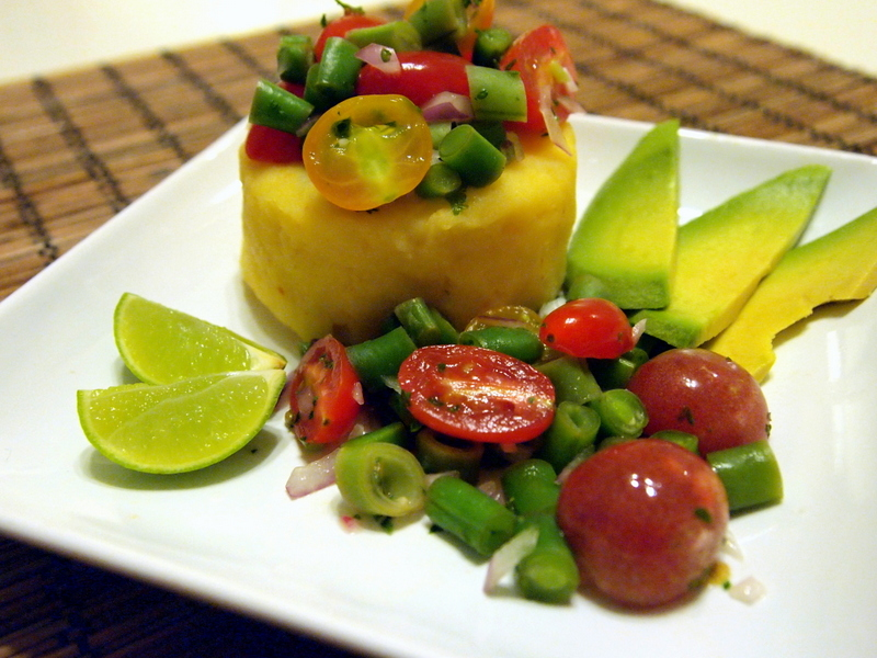 Green Bean and Tomato Causa