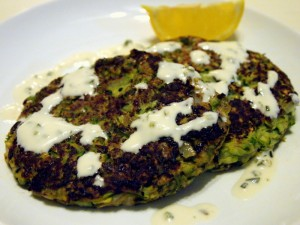 Zucchini Fritters with Poblano Sauce
