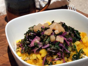 Root Vegetable Hash with Sauteed Greens